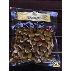 Olive Artigianali Calabresi Verdi schiacciate con osso Gr 500