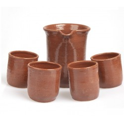 Terracotta carafe with 6 glasses